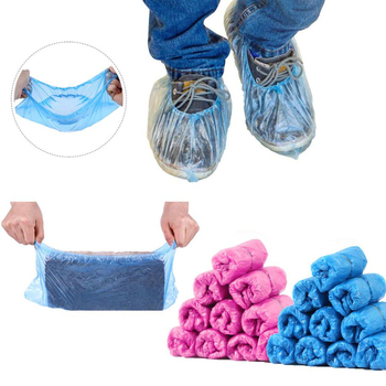 100pcs/Plastic Waterproof Disposable Shoe Covers Pack Waterproof Rain Boot Covers Carpet Floor Protector Cleaning Shoe Cover