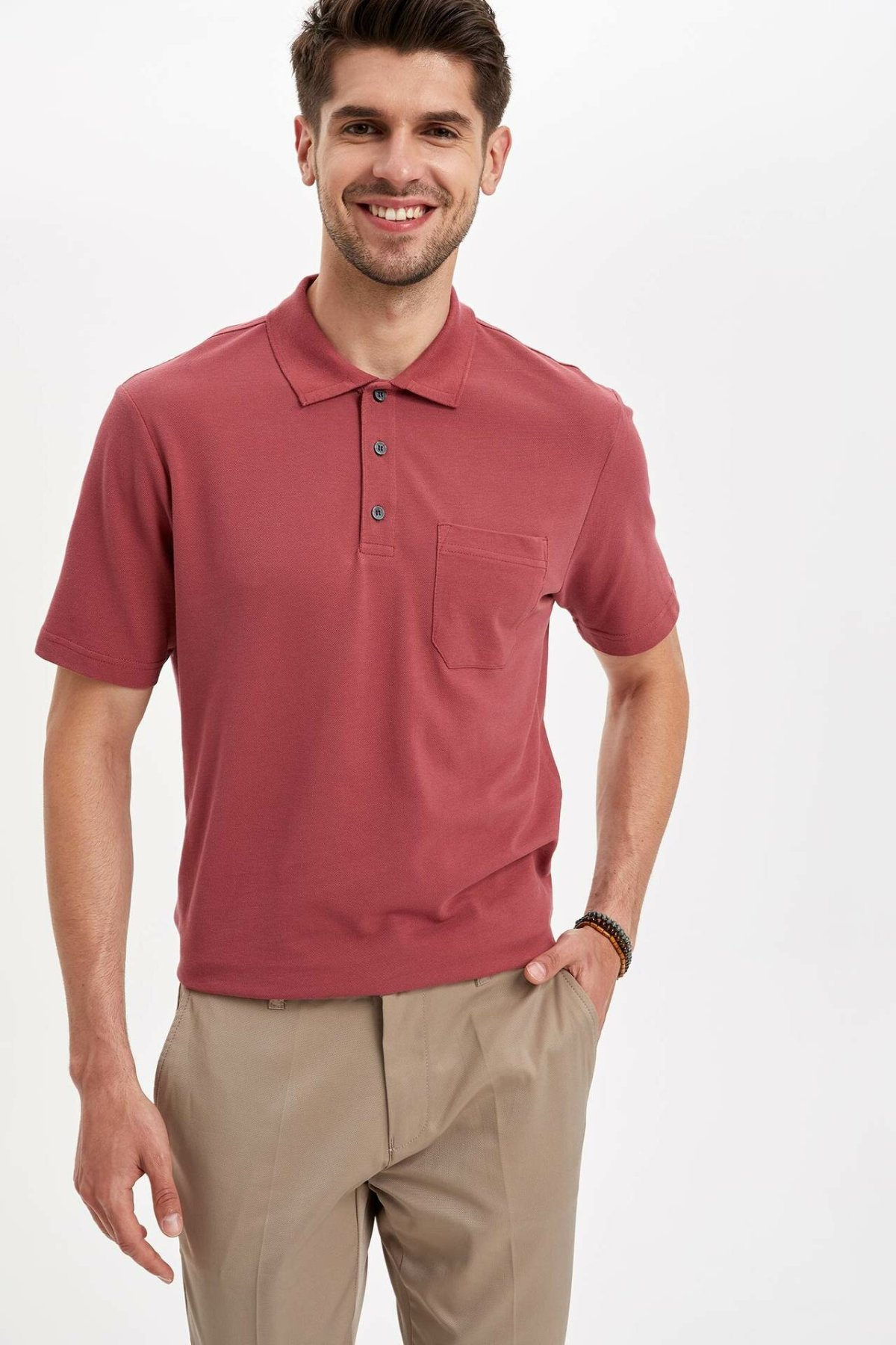 DeFacto Man Fashion   Polo   Shirt Casual Fashion Pure Color Short Sleeve High Quality Slim   Polo   Shirt New -L3754AZ19SM
