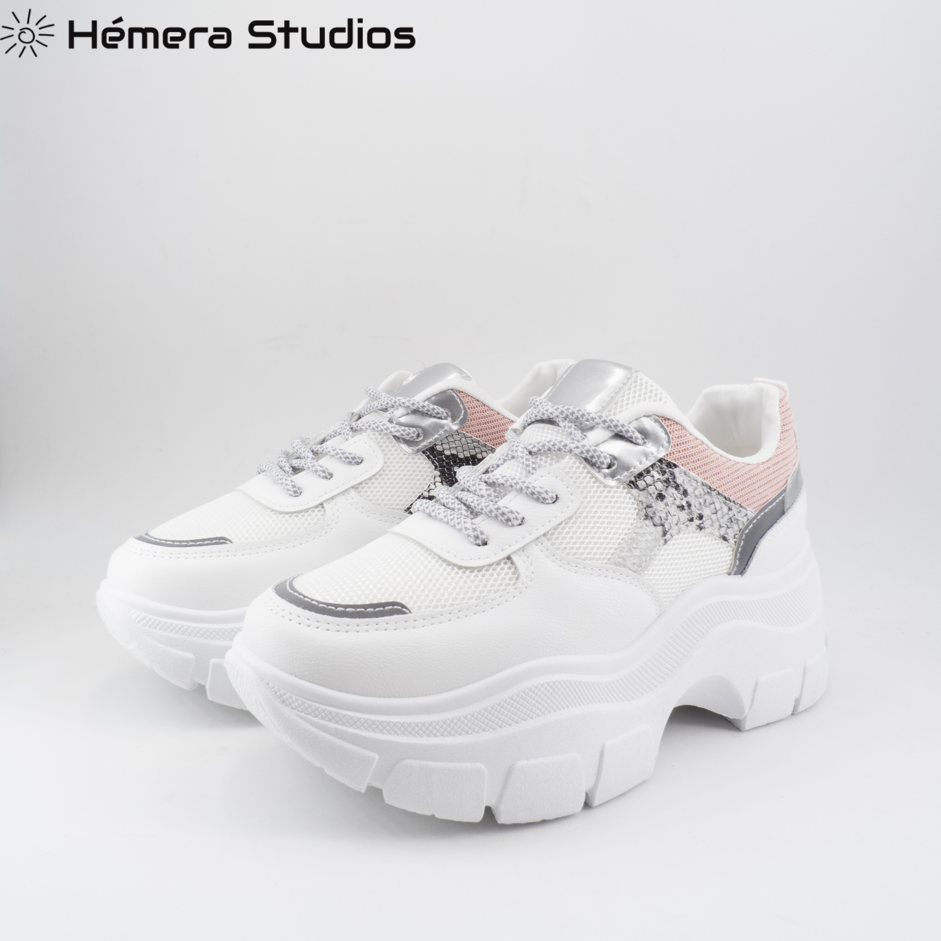 Casual Shoes For Woman With Cords Platform Shoes For Women In White Color With Stamping Animal