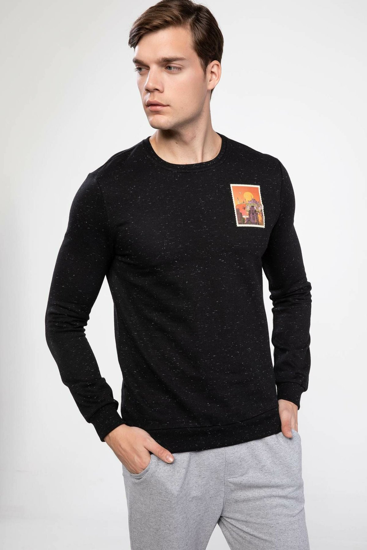 DeFacto Man Stamp Print Black Cotton Top Tees Men's Casual Loose Long Sleeve Knitted Tops Male Top Cloth T-Shirt-J3205AZ18AU
