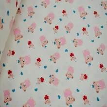 240 CM Eninde minik ayı desenli flanel pamuklu kumaş
