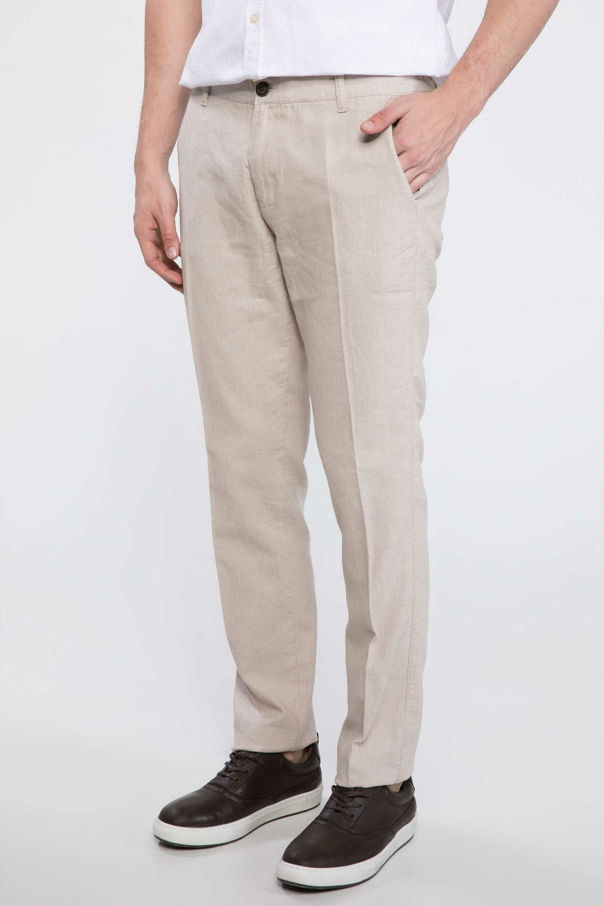 DeFacto Man Summer Smart Casual Beige Long Pants Trousers Men Straight Cargo Pants Male Bottoms-I7739AZ18SM