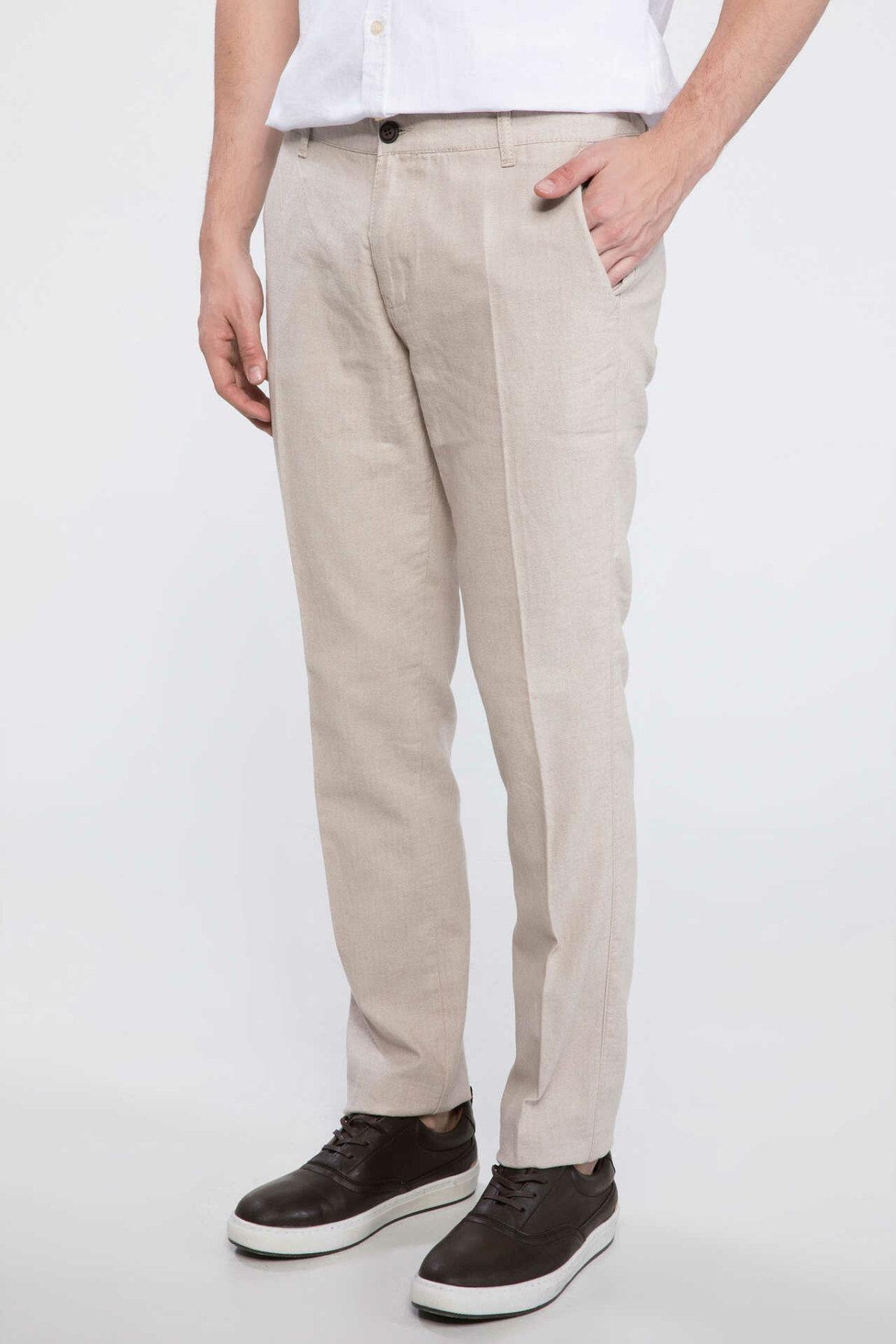 DeFacto Man Summer Smart Casual Beige Long Pants Trousers Men Straight Cargo Pants Male Bottoms-I7739AZ18SM