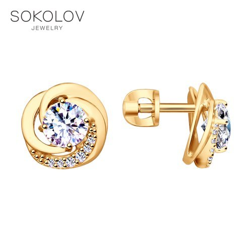SOKOLOV Drop Earrings With Stones With Stones With Stones With Stones With Stones With Stones With Stones With Stones With Stones With Stones With Stones In Gilded Silver With Cubic Zirconia Fashion Jewelry 925 Women's Male