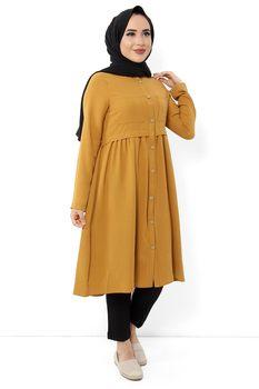 Przednie kieszenie hidżab Tunik TSD2669 musztarda tanie i dobre opinie Tesettür Dünyası Poliester TR (pochodzenie) long