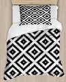 Else Black White Geometric Tiles 4 Piece 3D Print Cotton Satin Single Duvet Cover Bedding Set Pillow Case Bed Sheet