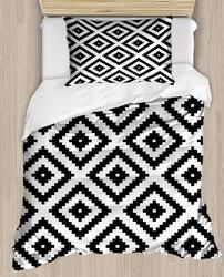 Innego czarny biały geometria płytki 4 sztuka 3D druku satyna bawełniana pojedyncze poszewka na kołdrę zestaw poszewka na poduszkę łóżko arkusz w Kołdra od Dom i ogród na