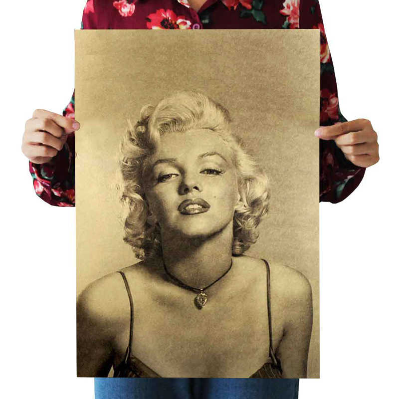 Hot Marilyn Monroe Kraft Paper Poster Art Design Fashion B Style Movie Stickers Muraux Pegatinas Adesivo De Parede Christmas
