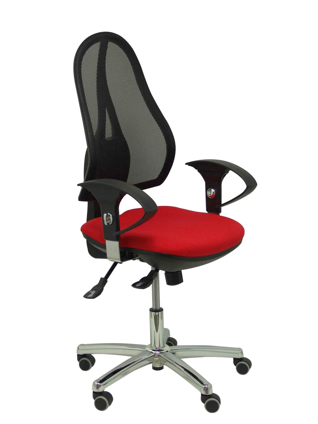 Ergonomic Office Chair With Mechanism Synchro, Arms Adjustable-breathable Mesh Backrest In Black And