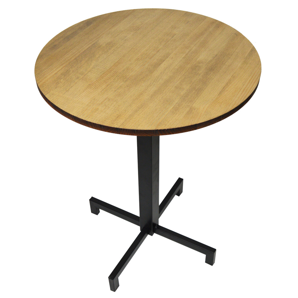 Pack Table ICub With Foot Black Central Board Round-70X70X75 Cm-Vintage Effect-Black