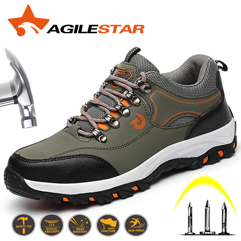 2019 Men Safety Shoes Steel Toe Work Shoes For Men Anti-smashing Puncture Proof Construction Breathable Sneaker