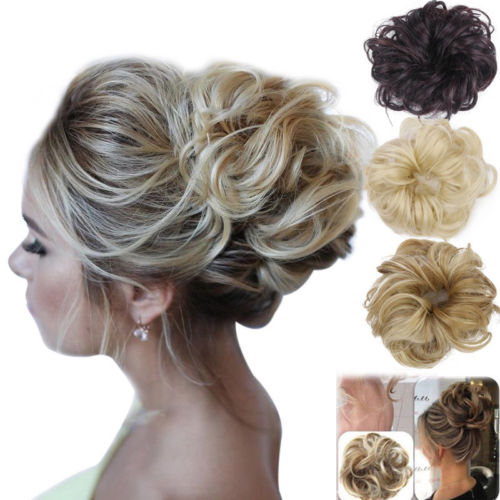 Hotsale 10 Colors Natural Hair Women Girls Real Human Natural Curly Messy Bun Hair Piece Scrunchie Fake Hair Extensions Headwear