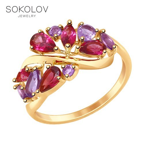 SOKOLOV Ring Gold With Precious Inserts Fashion Jewelry 585 Women's Male