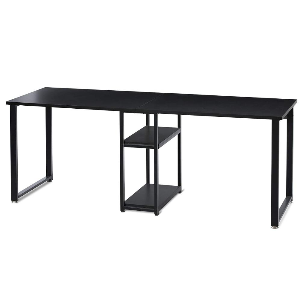 Double Workstation Desk 78 Inches Dual Desk Two Person Computer Desk With Storage Extra Large Home Office Writing Desk