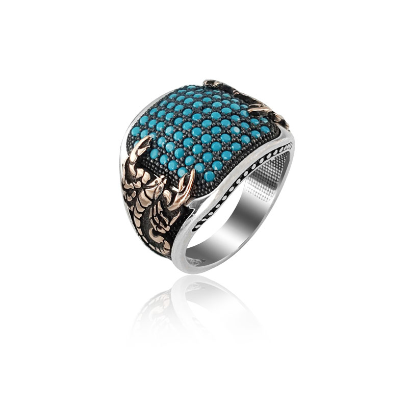 925 Silver Scorpion Turquoise Ring for Men Mans Ring