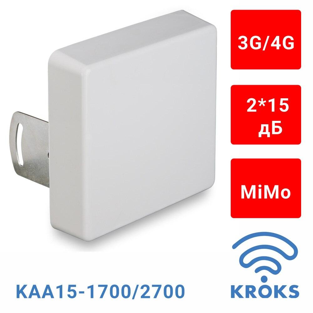 Антенна для модема 3G 4G MiMo,  2*15 дБ, Kroks KAA15-1700/2700 (2*F-разъем)