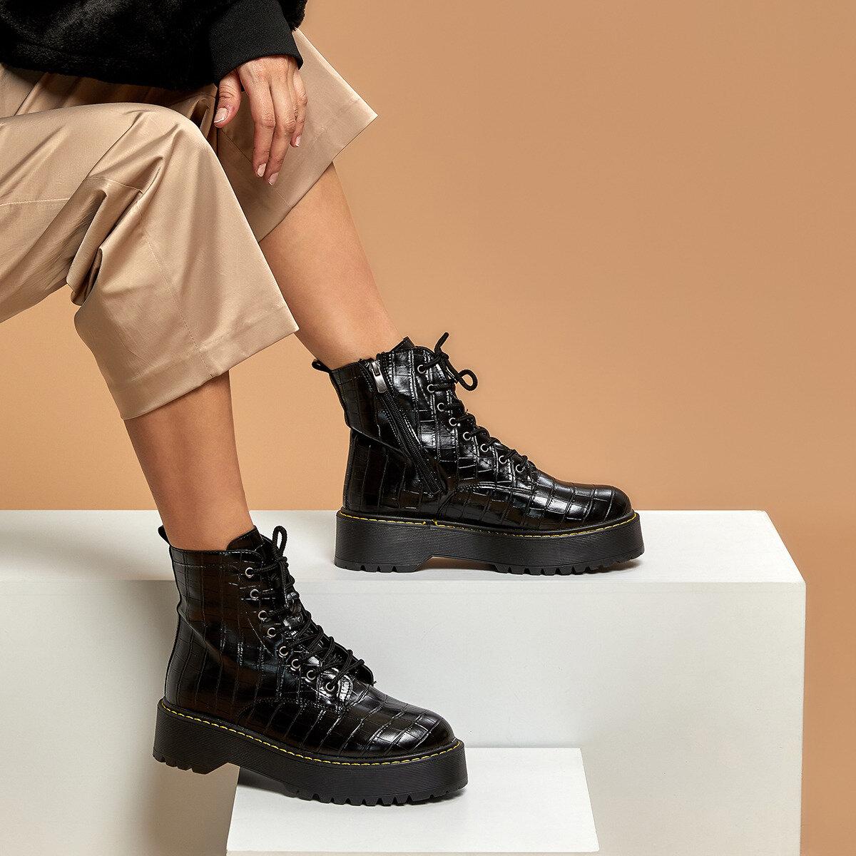FLO BAGETİ KROKO Women Thick Soled Boots BUTIGO