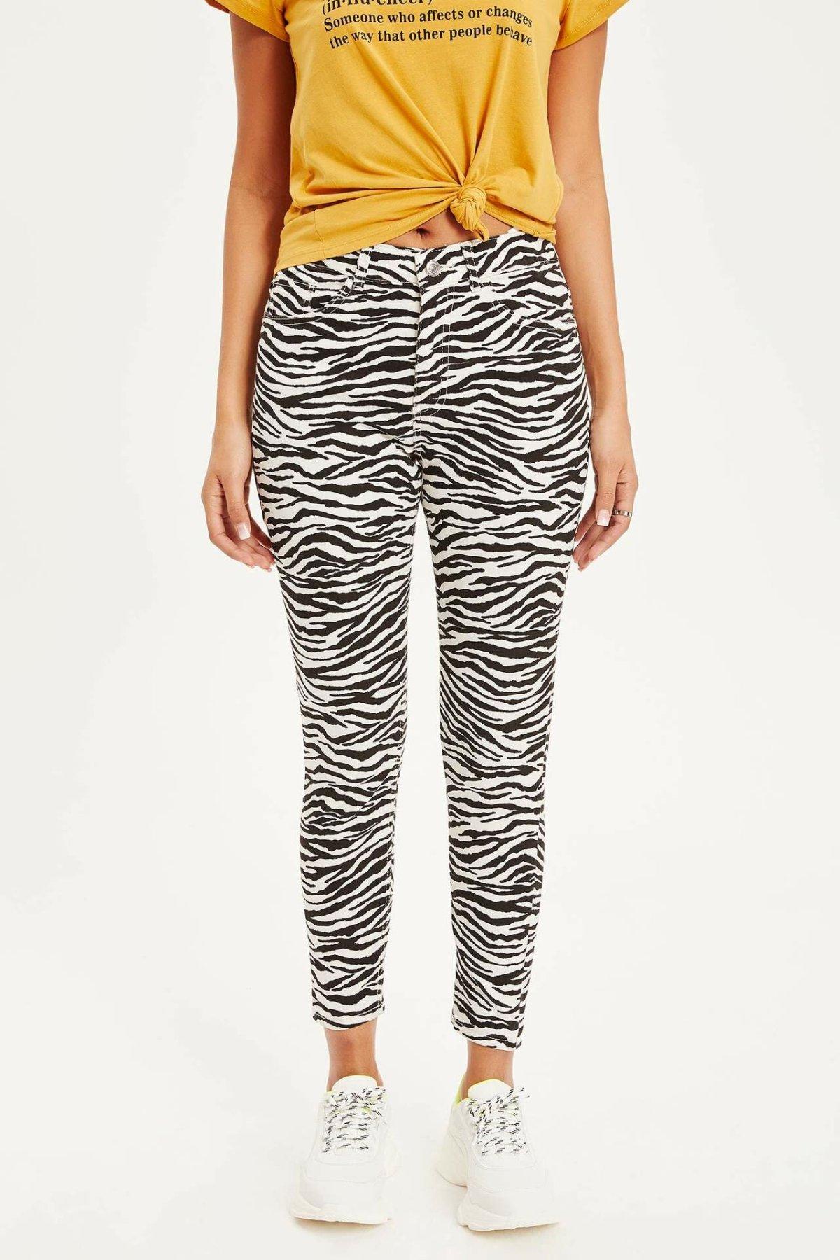 DeFacto Woman Trendy White Black Striped Pencil Pants Women Casual Fit Slim Pants Female Zebra Print Bottom Trousers-K7896AZ19SP