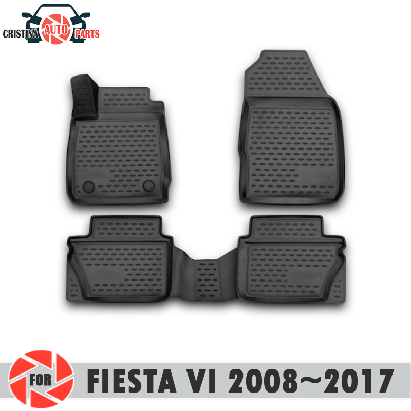 Alfombrillas de suelo para Ford Fiesta VI 2008 ~ 2017 alfombras antideslizantes de poliuretano protección de suciedad accesorios de diseño de coches interiores