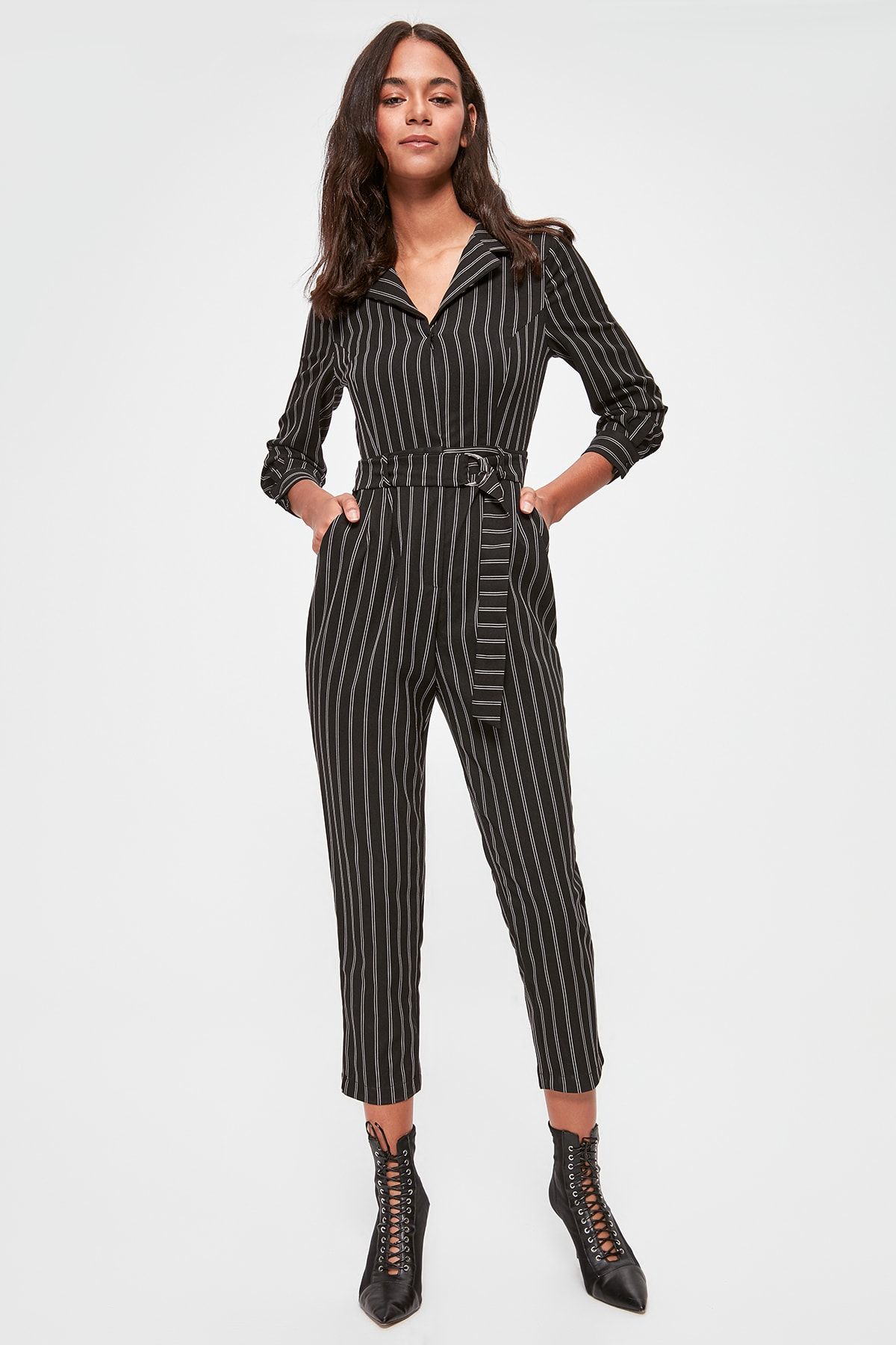 Trendyol Striped Belted Jumpsuit TWOAW20TU0054