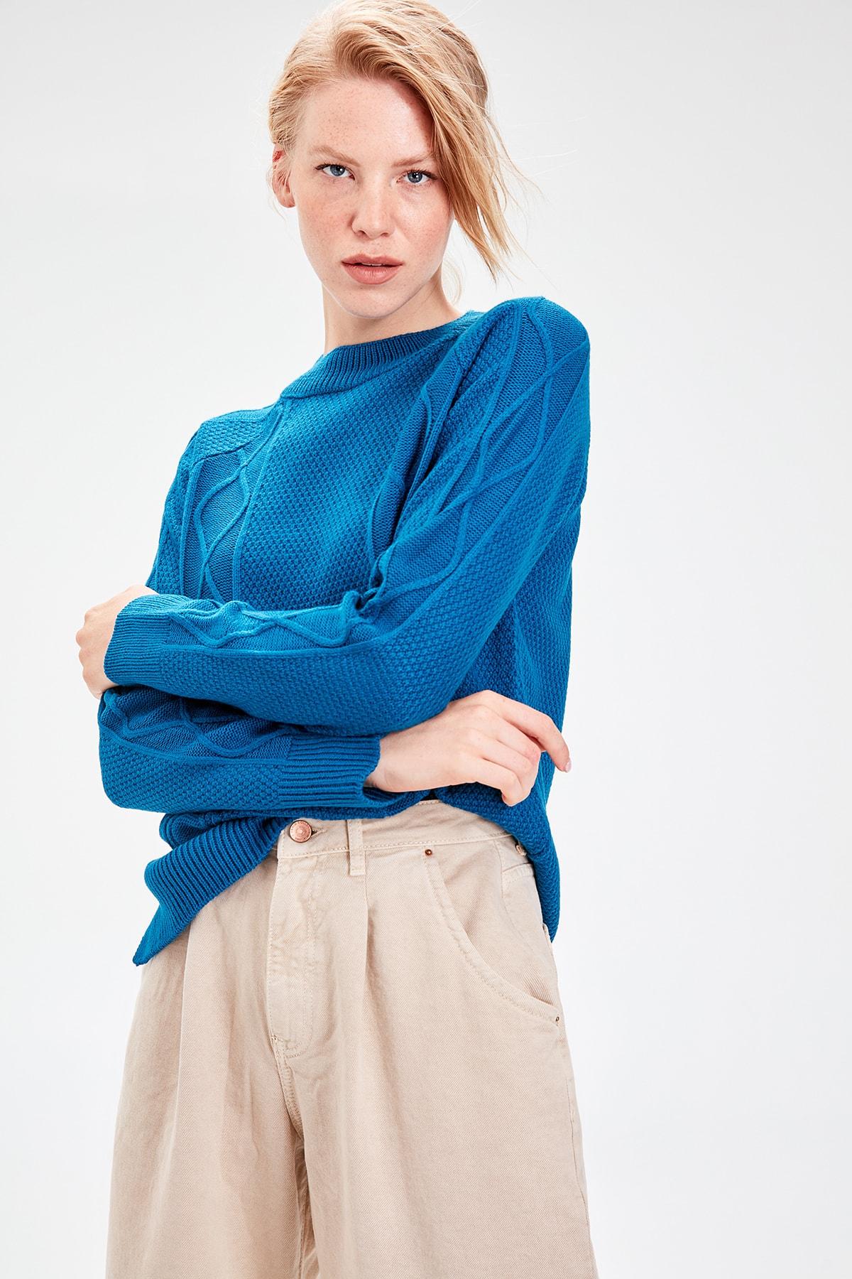 Trendyol Knitting Oil Detailed Knitwear Sweater TWOAW20KZ0003