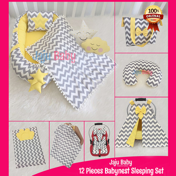 Jaju Baby Gray Yellow Zigzag 12 Piece Set Luxury Orthopedic BabyNest Set, Breastfeeding Pillow,Stroller Cover Baby Sleeping
