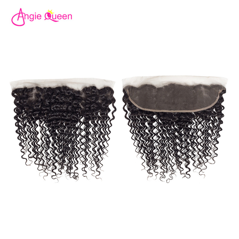 ANGIE QUEEN Deep Wave Lace Frontal Brazilian Hair Frontal Remy Hair Frontal 150% Lace Frontal 8-20 Inches Free Part Frontal