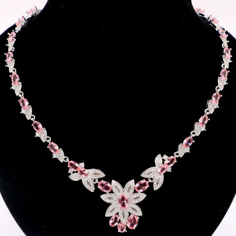 27x23mm elegancki stworzony różowy Morganites biały CZ prezent dla dziewczyny srebrny naszyjniki 18.5 19.5 cal w Naszyjniki od Biżuteria i akcesoria na  Grupa 1