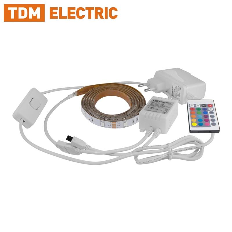 Комплект светодиодной ленты SMD5050-30 LED/м-12 В-7,2 Вт/м-IP20-RGB (1 м / 3 м), 12 Вт / 18 Вт, IR-контроллер TDM