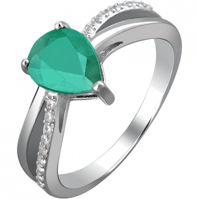 Esthete Ring With Emerald And Cubic Zirconia