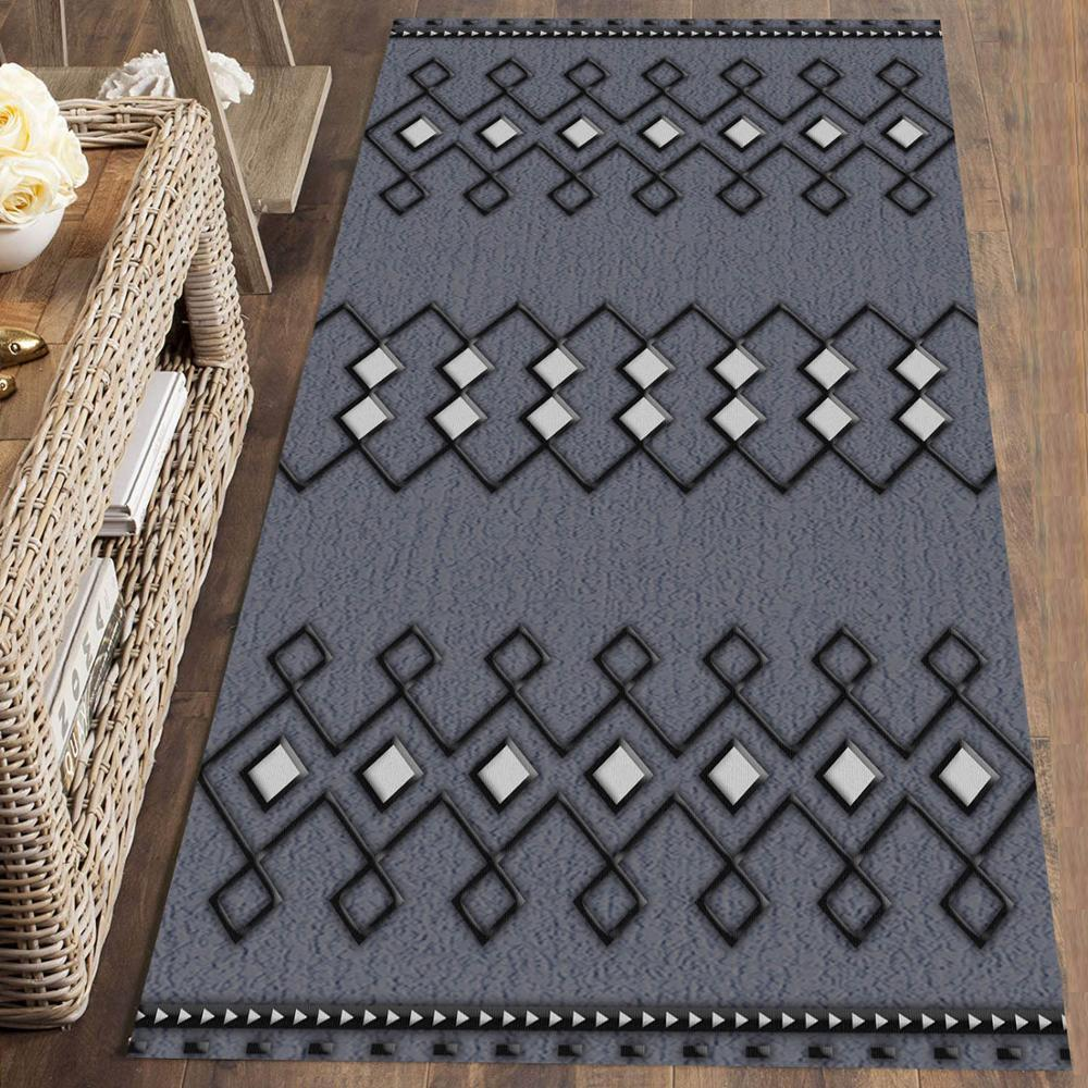 Else Gray White Bohemian Morrocan Modern 3d Print Non Slip Microfiber Washable Long Runner Mat Floor Mat Rugs Hallway Carpets