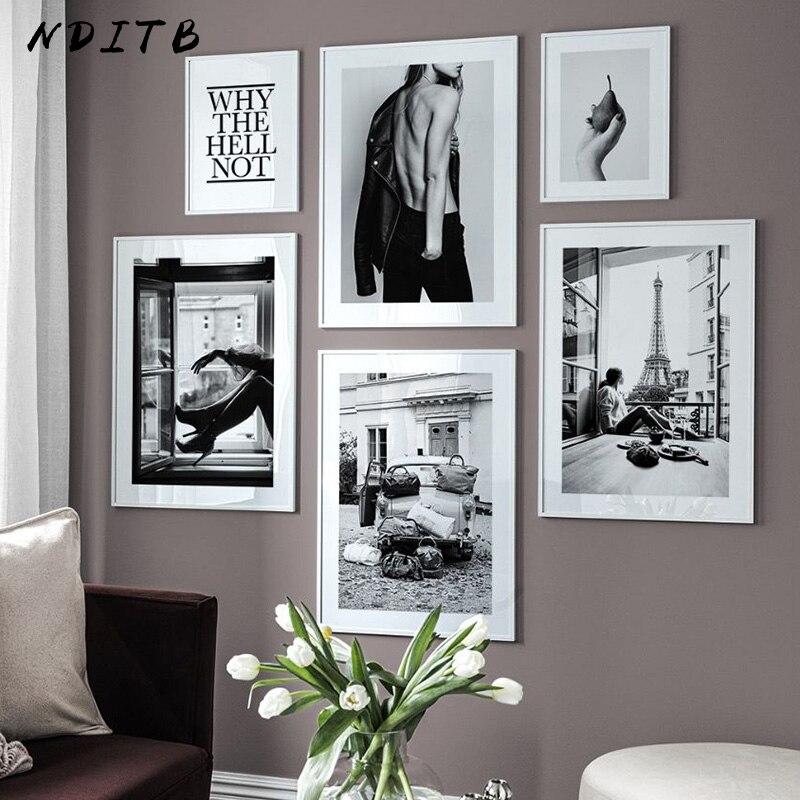 Seksi kız siyah beyaz tuval boyama moda fotoğraf Poster Nordic baskı Modern duvar sanat resmi oturma odası dekorasyon