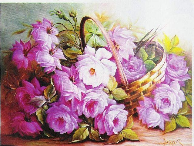 Painting By Numbers Pink Bouquet In A Basket, 40x50 Cm