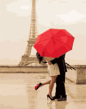 Painting By Numbers PK 38004 Lovers Under The Umbrella 40*50