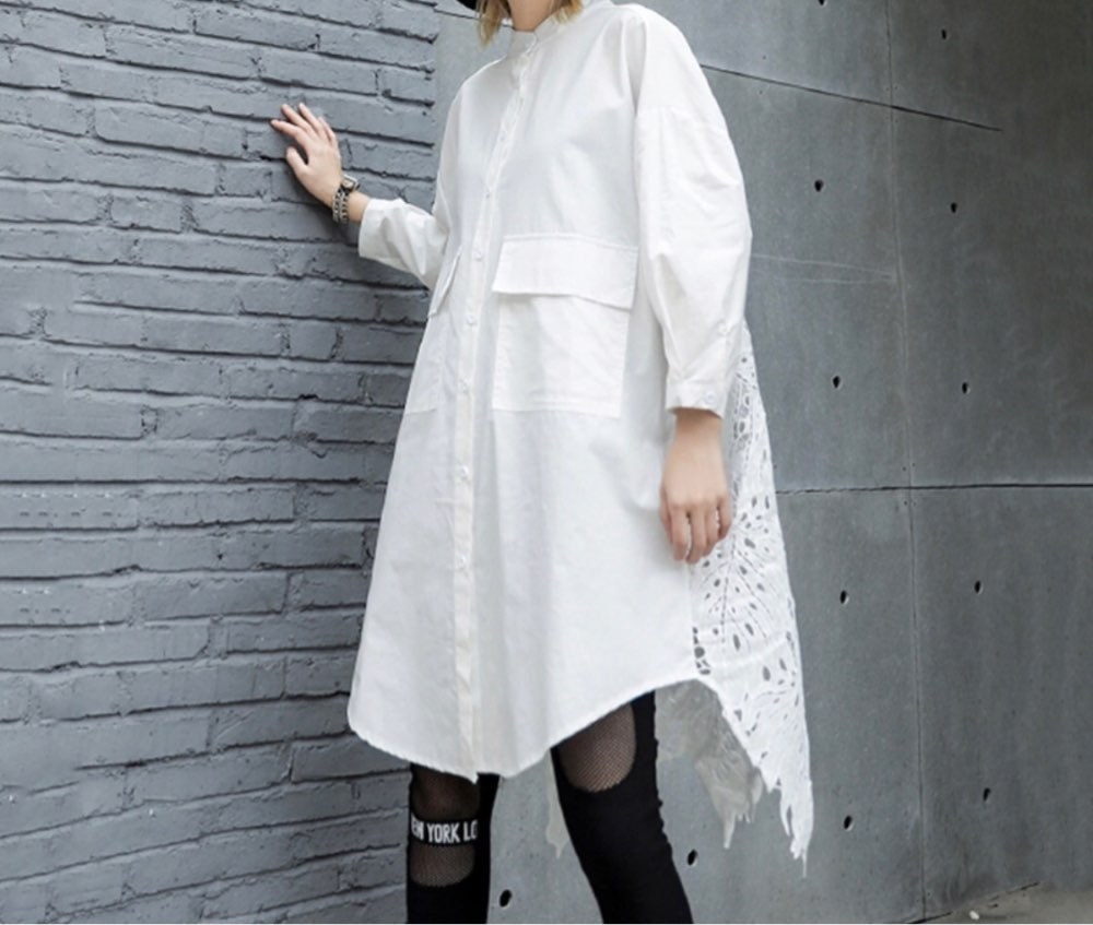 Autumn Winter Stand Collar Long Sleeve Back Lace Hollow Out Spliced Big Size Shirt Women Blouse Fashion Tide photo review