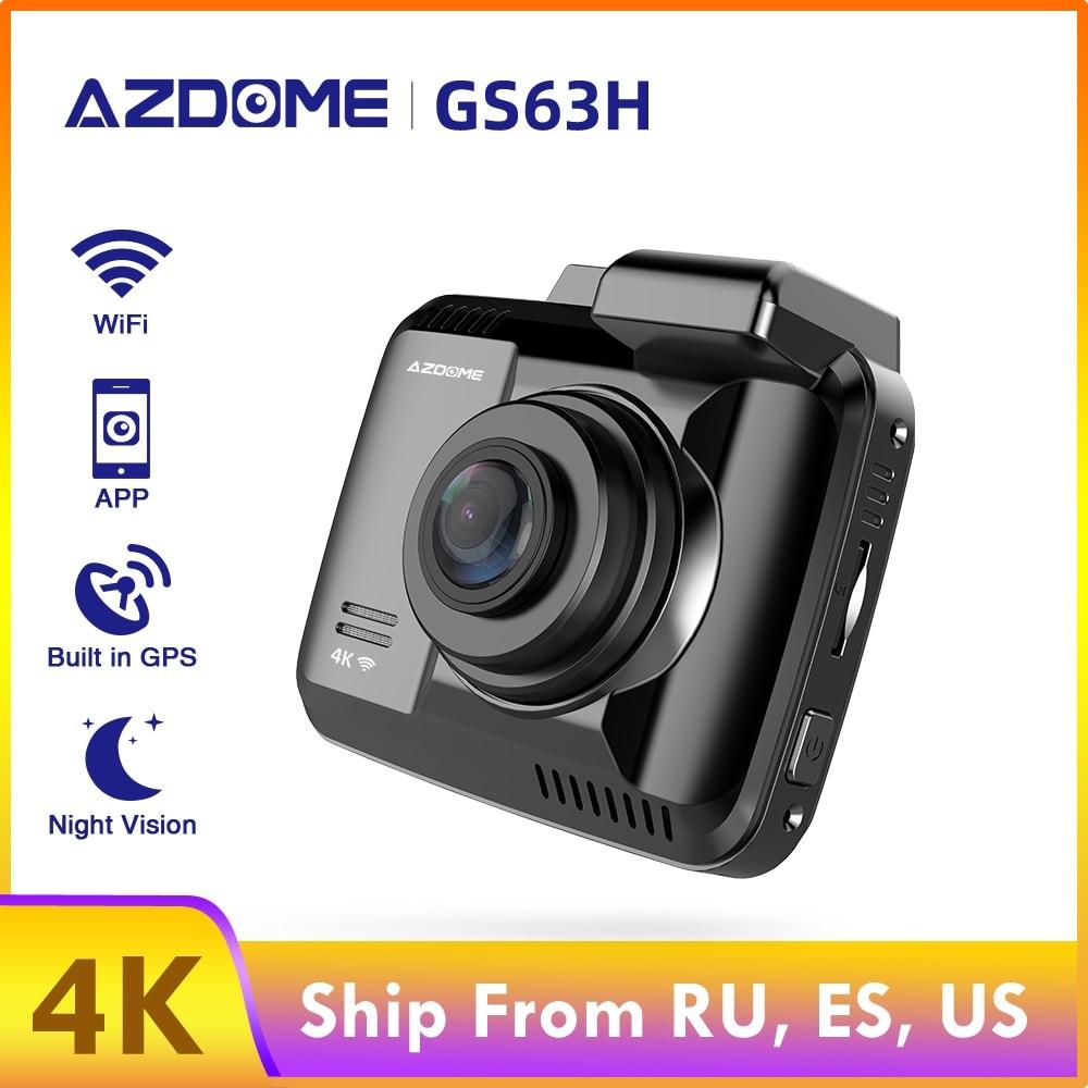AZDOME GS63H 4K регистратор 2,4 дюймов ЖК-экран видеорегистратор Встроенный GPS скорость координаты WiFi DVR двойной объектив видео рекордер