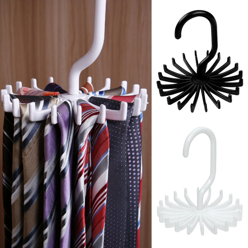 1 Pcs Large Capacity 20 Hooks Scarves Necktie Racks 360 Degree Rotating Barb Ties Storage Holder Wardrobe Ties Belts Hanger 2019 in Hangers Racks from Home Garden