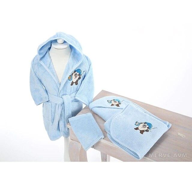 Özdilek Newborn Male Baby Bamboo Bathrobe Set Tasmania Blue 156857652