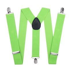 Подтяжки для брюк широкие (3.5 см, 3 клипсы, Зеленый) 53213