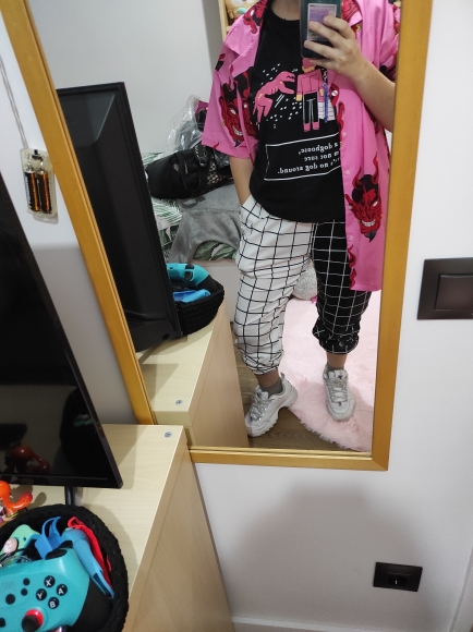 Black and White Checkerboard Trousers Punk E-girl photo review