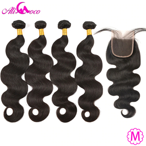 Ali Coco Brazilian Hair Body Wave 4 Bundles With Closure 100% Human Hair Bundles With Closure Non-remy Hair Extensions(China)