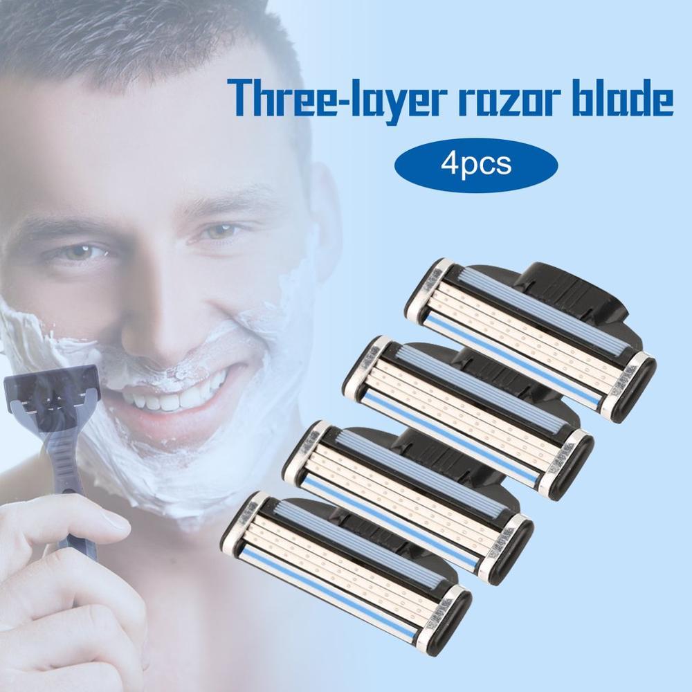 4PCS/SET 3 Layers Men Face Shaving Razors Blades Male Manual Razor Blades For Standard Beard Shaver Facial Trimmer Blades