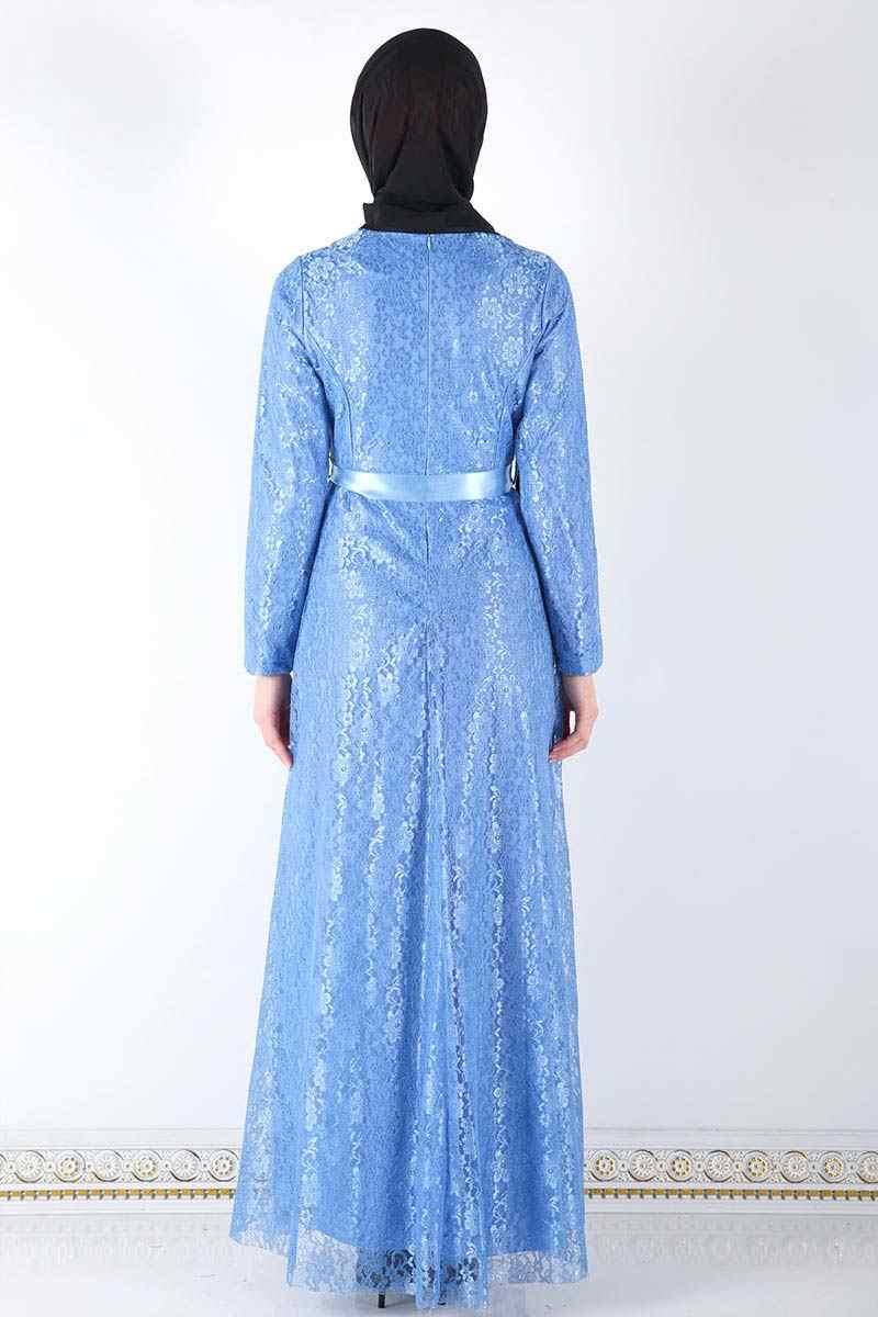 Collana Increspato Hijab Abito Da Sera TSD8820 Bebe Blu