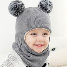 Baby Hat Scarf Winter Hat For Kids 33 Colors Boy Girl Hooded scarf Caps Warm Knit Flap Cap Scarf 0-7 Years czapki dla dzieci(China)