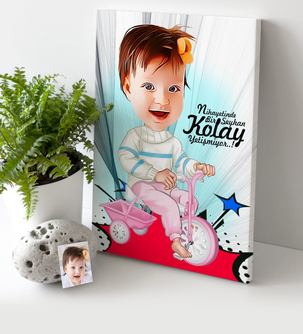 Obliging Personalized Baby Cartoon Canvas Table (30x50 Cm.) 3 Gift Home Decoration Special Design Home Office Business Place Quality Agreeable To Taste