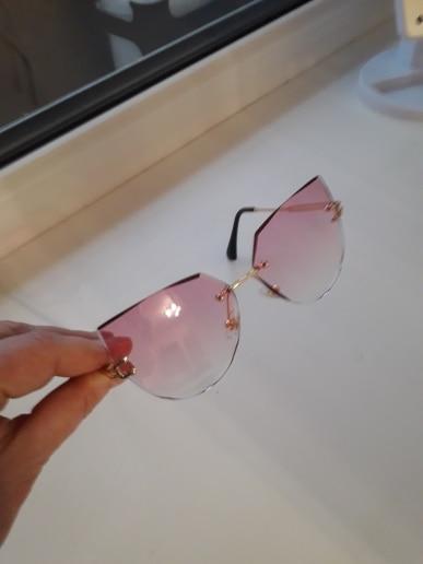 Rimless Cat Eye Sunglasses - Luxury Brand Design for Women photo review