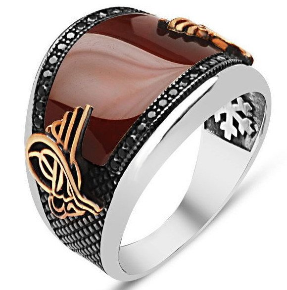 925 sterling Silver Ottoman Tuğralı Red Agate Stone Ring()