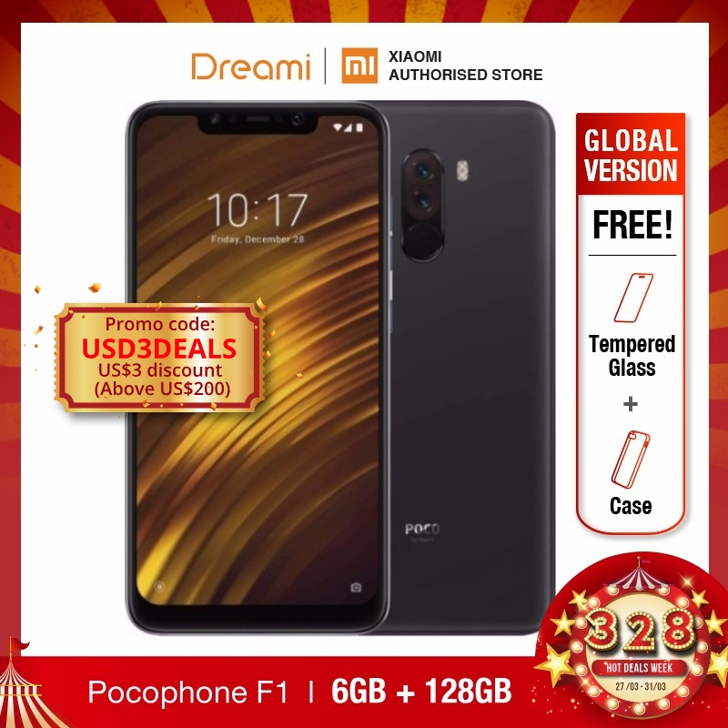 Global Version Xiaomi Pocophone F1 128GB ROM 6GB RAM (Brand New And Sealed) Poco F1 128gb