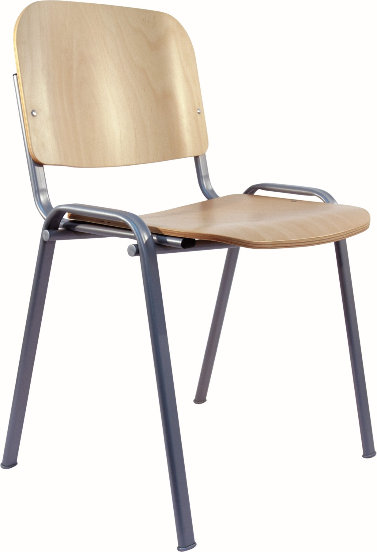 Visitor Chair Desk Ergonomic, Stackable, Multipurpose And Structure In Gray Color Up Seat And Backstop Wooden Lacquer Col