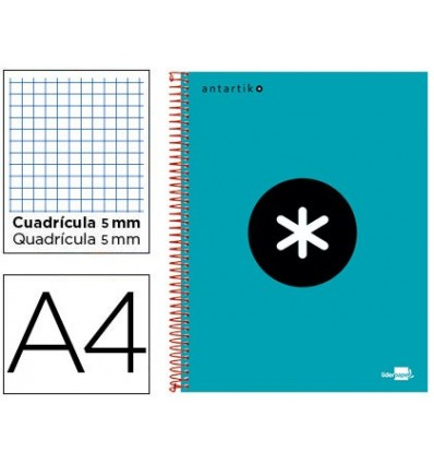 SPIRAL NOTEBOOK LEADERPAPER A4 MICRO ANTARTIK LINED TOP 120H 100 GR CUADRO5MM 5 BANDS 4 DRILLS TURQUOISE